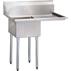 "ChefsFirst offers equipment & supplies for restaurants, commercial kitchens, foodservice & manufacturing facilities. Check out our low price for this Sink, Kitchen, 1 Compartment 18"" x 18"", 1 Drainboard 18"" Right, CC1-18R by California Cooking."