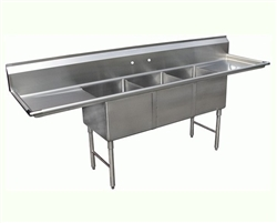 "ChefsFirst offers equipment & supplies for restaurants, commercial kitchens, foodservice & manufacturing facilities. Check out our low price for this Sink, Kitchen, 3 Compartments 24"" x 18"", 2 Drainboards 18"", CC3-2418 by California Cooking."