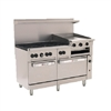 "ChefsFirst offers equipment & supplies for restaurants, commercial kitchens, foodservice & manufacturing facilities. Check out our low price for this Range, 60"", 6 Burners, 24"" Raised Griddle/Broiler, 2 Standard Ovens - L.P. Gas, C60-S-6B-24GB-P by Wolf."